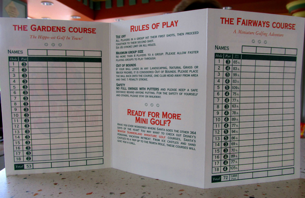 Disney World Mini Golf Score Card