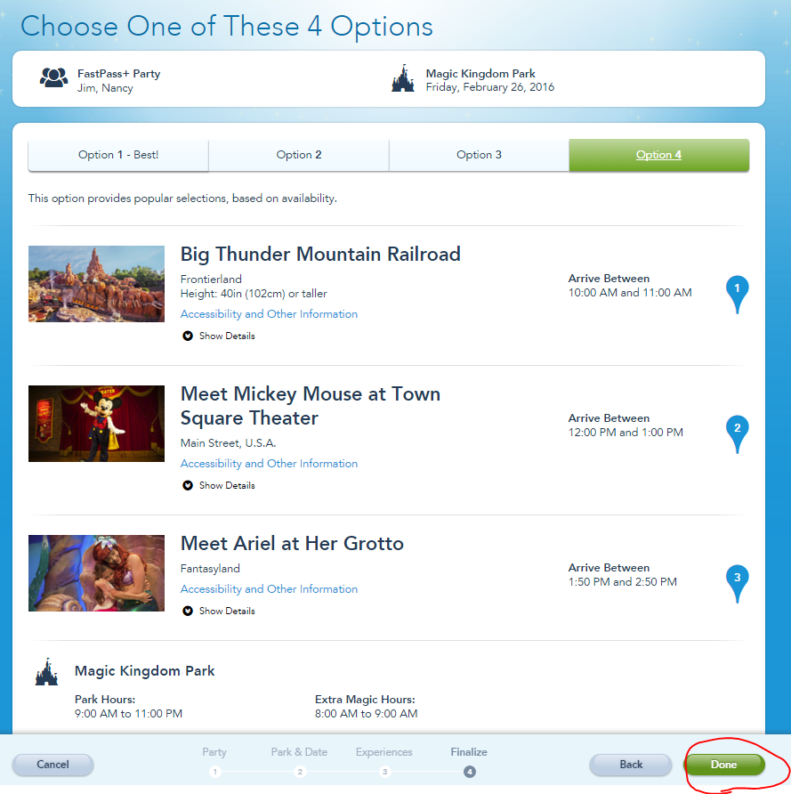 Pick your preferred FastPass+ itinerary