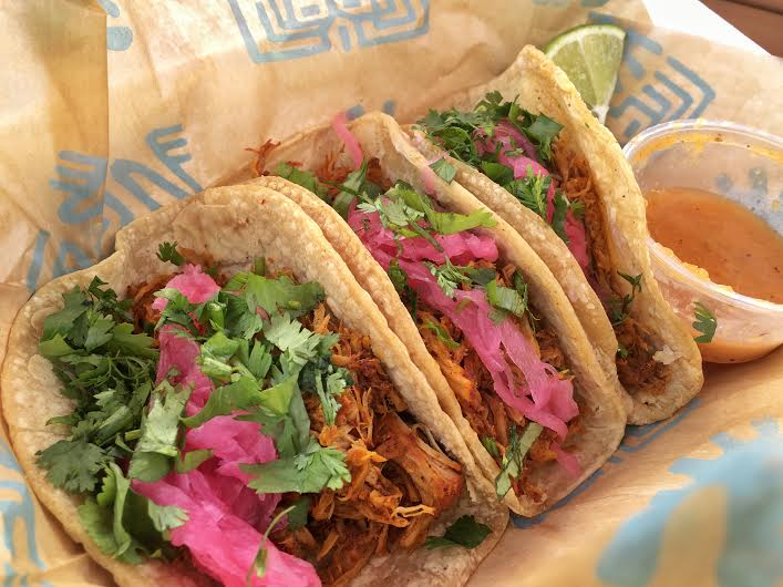 Cochinita pibil tacos from Frontera Cocina's walk-up window