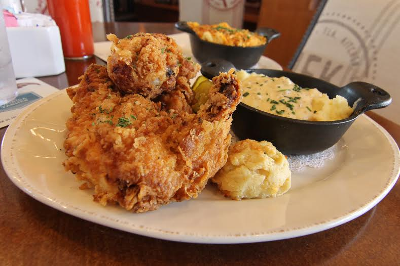 Homecoming Kitchen's fabulous fried chicken with cheddar cheese drop biscuit and mashed potatoes