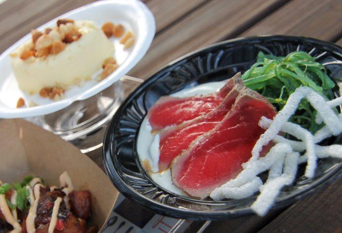 Hawai'i's Grilled Tuna Tataki with Seaweed Salad, Pickled Cucumbers and Wasabi Cream