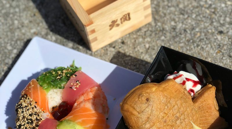 Takumi Table's Sake box, Taiyaki, and Sushi Donut (clockwise)
