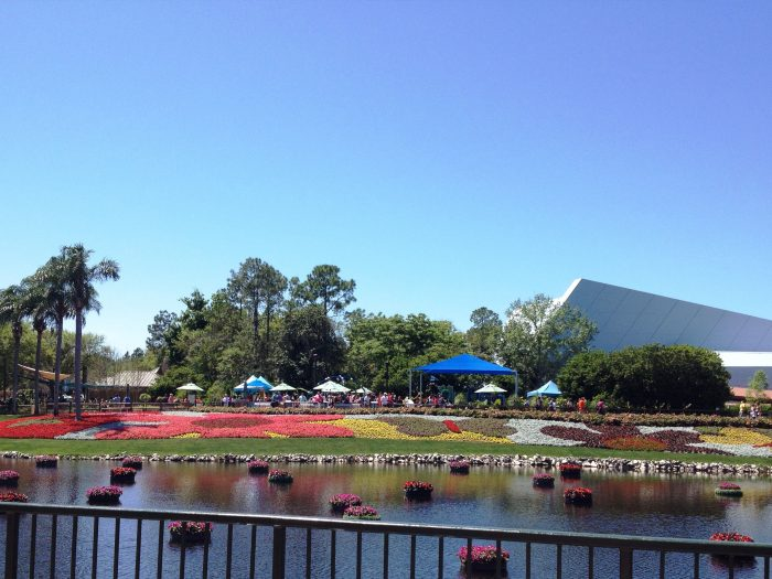 Cloudless blue sky in Epcot - spring break weather in Orlando