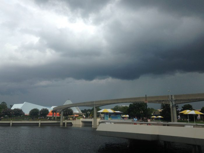 spring storms at Epcot - spring break weather in orlando