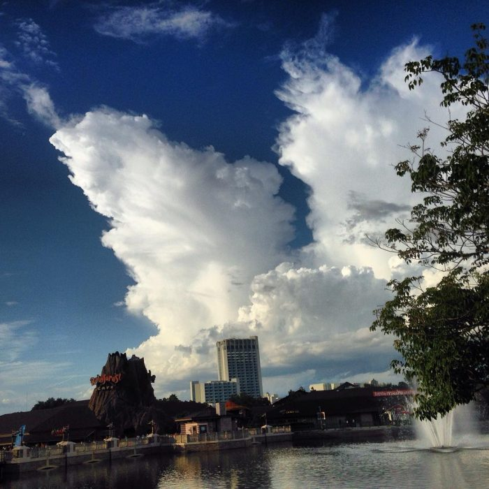 Late-day storms pop after a hot day at Disney Springs.