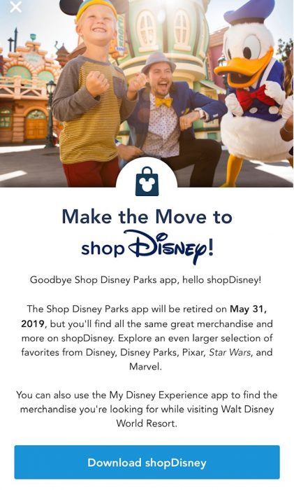 The Shop Disney Parks App to Be Retired for shopDisney