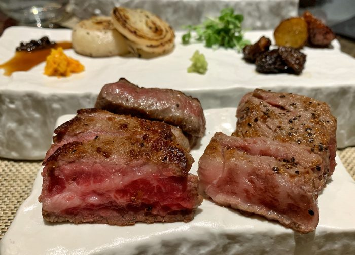 Wagyu, two ways - On the left, American Jackman Farms Wagyu, on the right, Japanese A5 wagyu