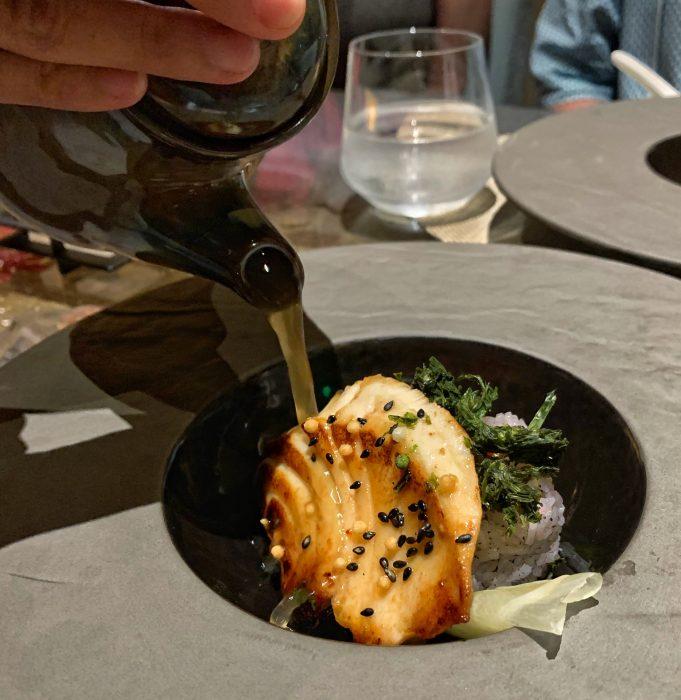 Misoyaki Ochazuke - green tea dashi poured over Misoyaki sea bass
