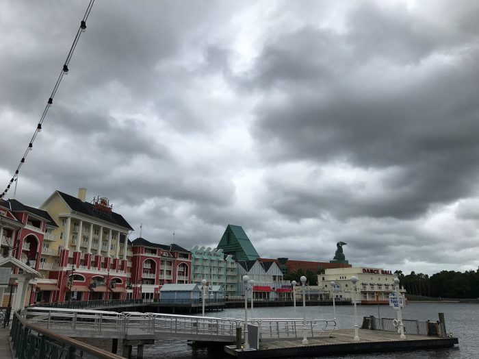 Some rare all-day rain from the unusual July low pressure system makes a cool day at Disney's Boardwalk.