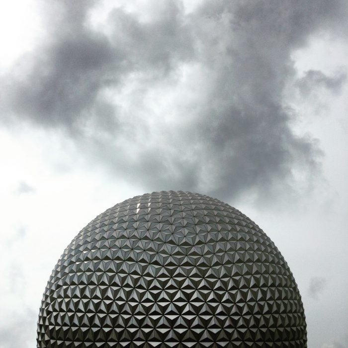 Mood lighting? This cloudy shot of Spaceship Earth is actually in full color.