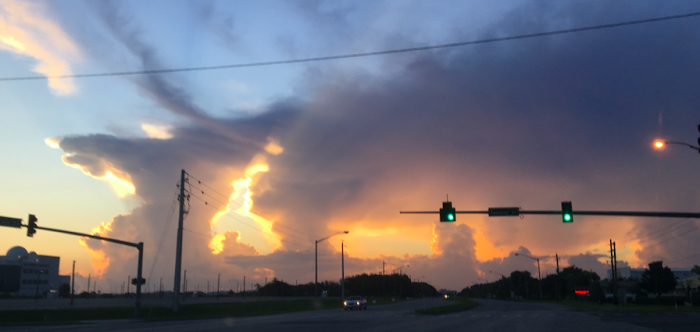 Offshore storms at sunrise near Port Canaveral: southeast winds influenced by the Bermuda High create many scattered storms over the Atlantic waters. Photo: Kim Keller