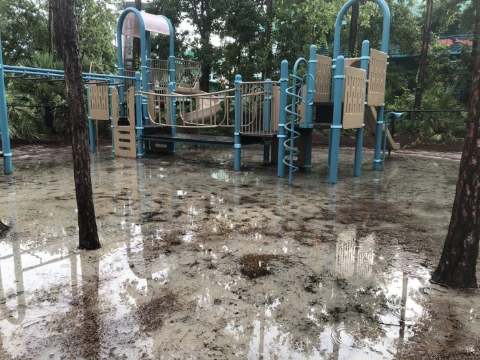 A flooded playground at Disney's All-Star Resorts.