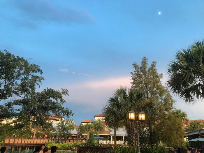 Pretty, but sultry: after two rounds of storms at Disney Springs on August 9, 2019, it was still hot and humid.