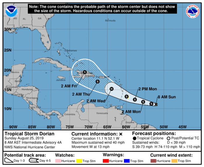 Sunday, Aug. 25 AM Forecast Cone. Image: The National Hurricane Center (nhc.noaa.gov)