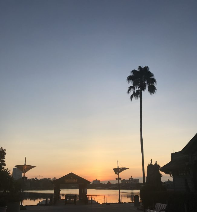 Clear, sunny, and a heat index of 89 at sunrise: Monday, August 12 at Disney Springs