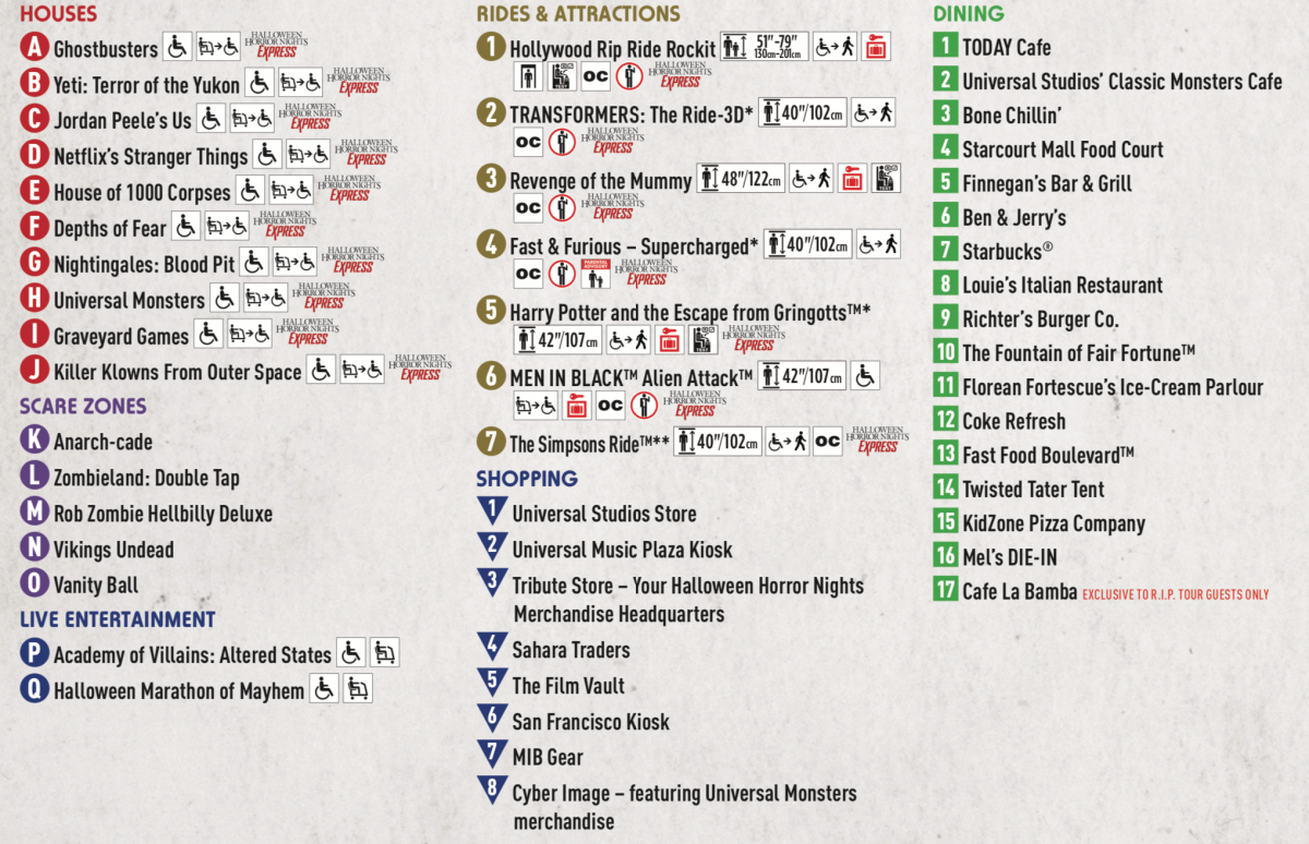 Halloween Horror Nights 29 Map Key
