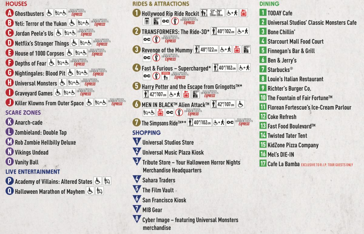 Halloween Horror Nights 29 Map Key