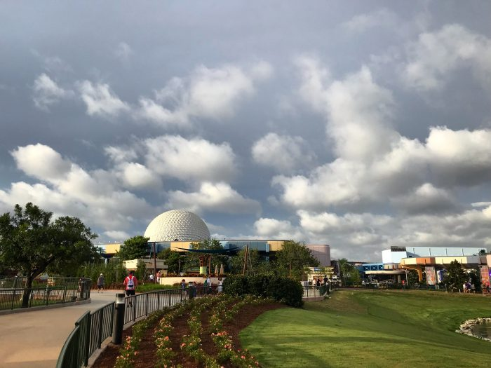 Dark clouds of an approaching rain-band from Hurricane Dorian just before Epcot closed at 7 PM in advance of the storm.