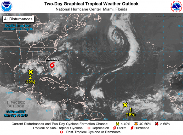This week's map looks active, but only one disturbance is of interest to Florida weather. Courtesy NOAA