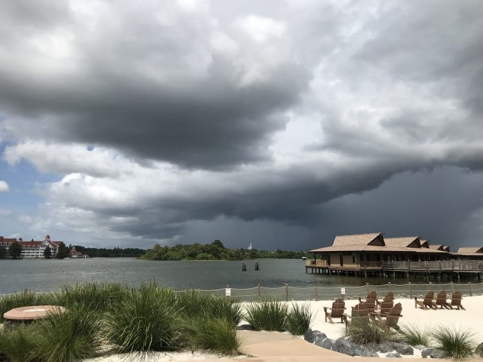 Storm clouds associated with then-Tropical Storm Humberto on Sunday at Seven Seas Lagoon.