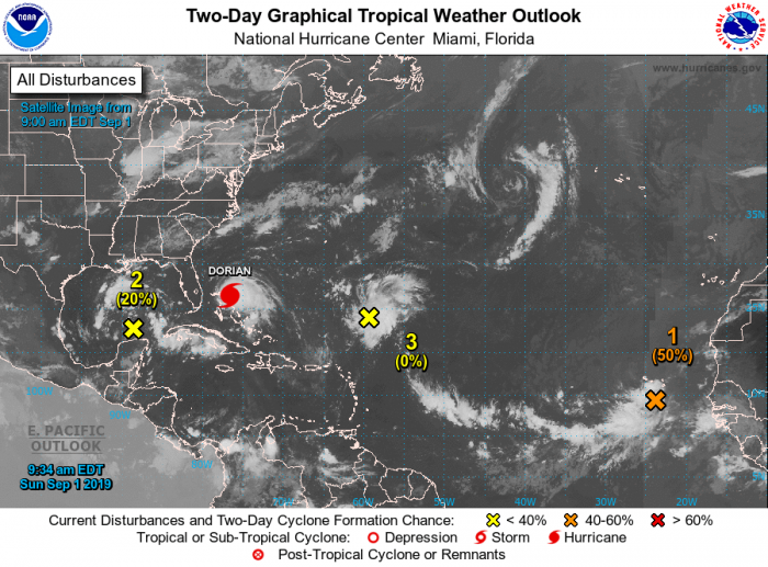 Two-Day Tropical Weather Outlook, Courtesy NOAA