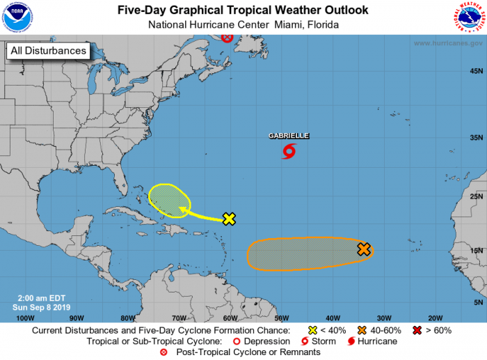 Five-day tropical outlook with minor disturbances in the Atlantic. Image courtesy NOAA.