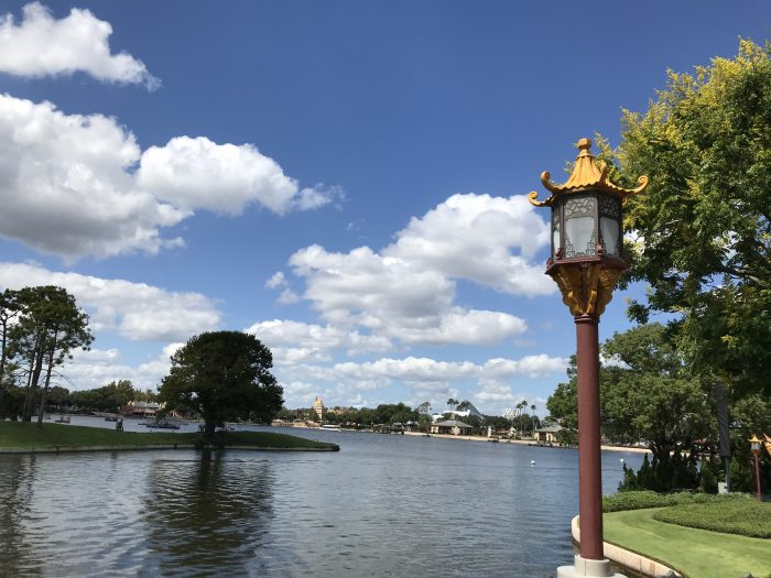 Big sun and little clouds for an October afternoon at Epcot.