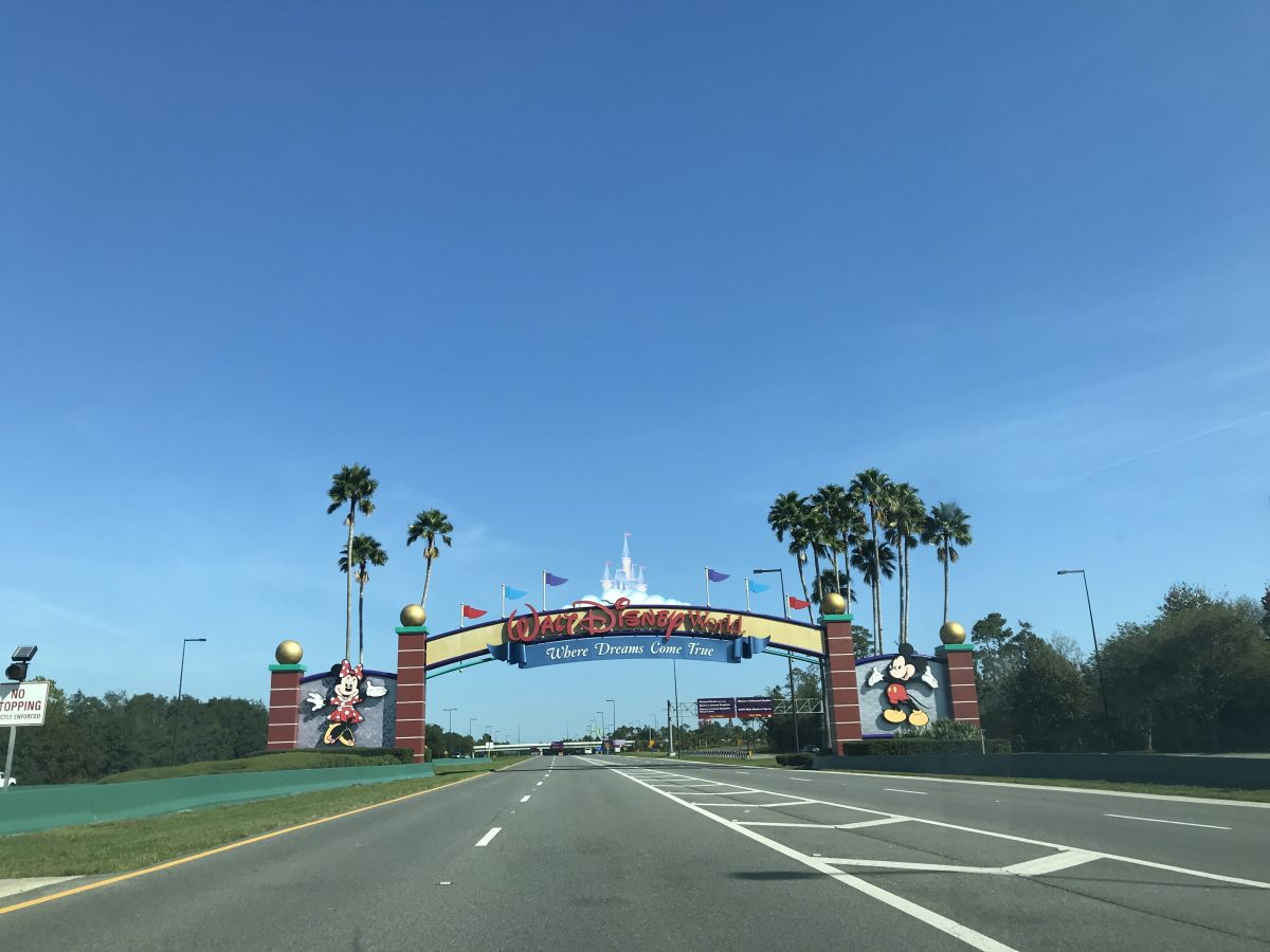 blue sky over walt disney world entrance