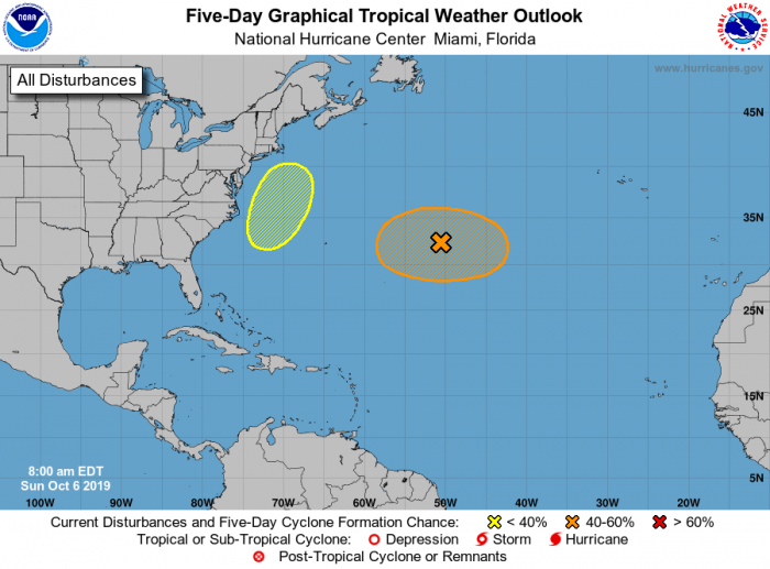Relatively quiet: the five-day tropical weather outlook. Courtesy NOAA