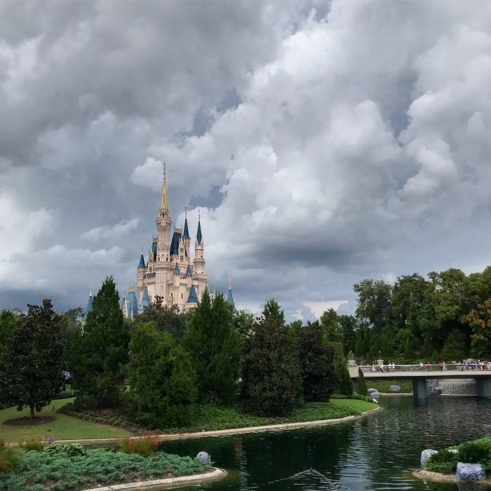 A stormy sky above Cinderella Castle that looks more July than November!