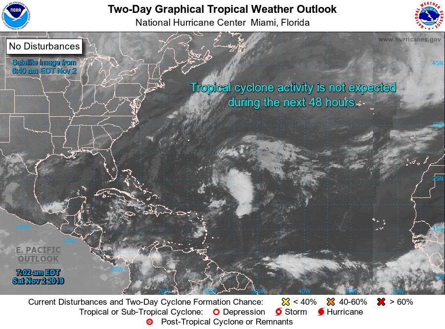 Tropical Outlook? Computer says no. Courtesy: NOAA