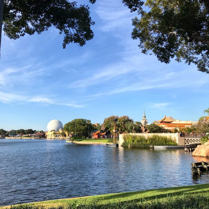 Bright clear day over Epcot's World Showcase