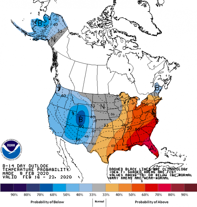 long-range temp forecast feb 2020