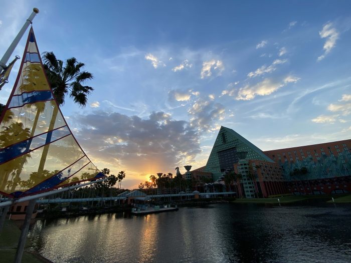 a smoky February sunset at the Walt Disney World Dolphin