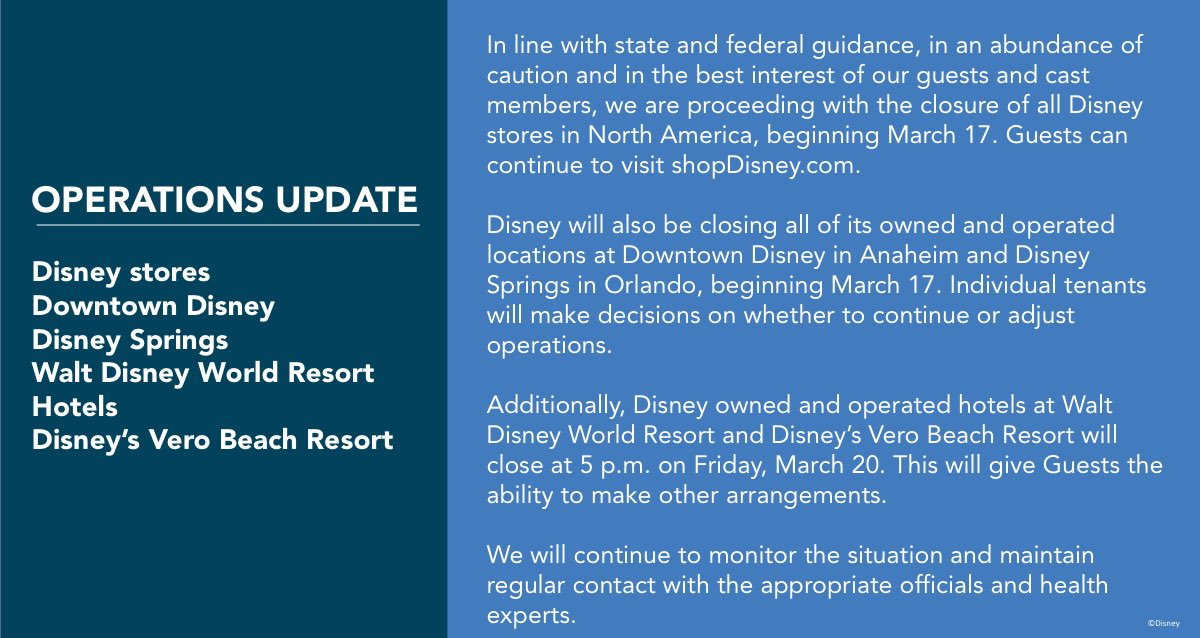 Walt Disney World Resort Hotels To Close March 20 Due to Coronavirus