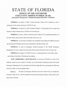 Florida Quarantine Rule Remains in Effect