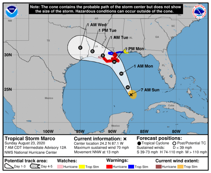 Tropical Storm Marco's forecast. Courtesy NOAA/NHC