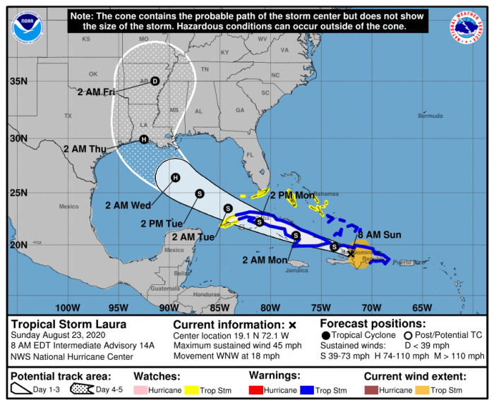 Tropical Storm Laura's forecast as of 8/24/20. Courtesy: NOAA/NHC