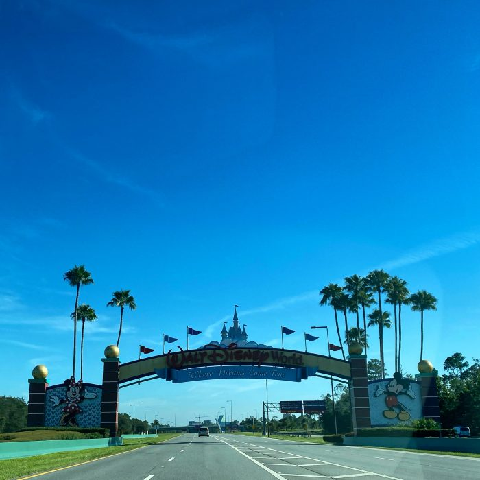 driving up to Walt Disney World gate in August 2020