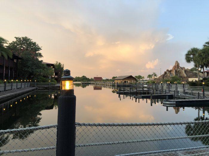 Sunset over Disney's Polynesian Village Resort Marina