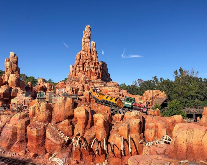 Picture of train car climbing the track on Big Thunder Mountain Railroad