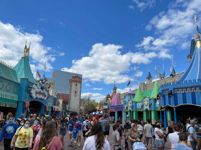 Crowds of people in Fantasyland