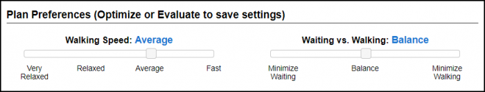 Graphic of Plan Preferences settings, showing sliders set to Average walking speed and Balance of Waiting vs. Walking.