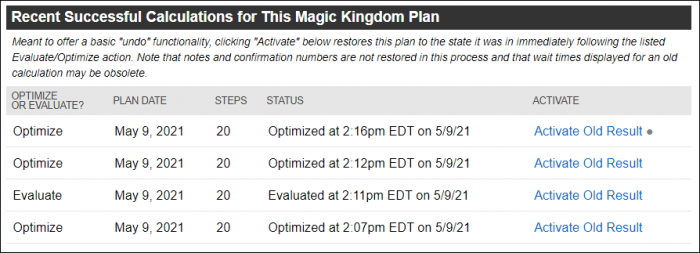 Screenshot of the Activate Old Result feature at the bottom of a touring plan