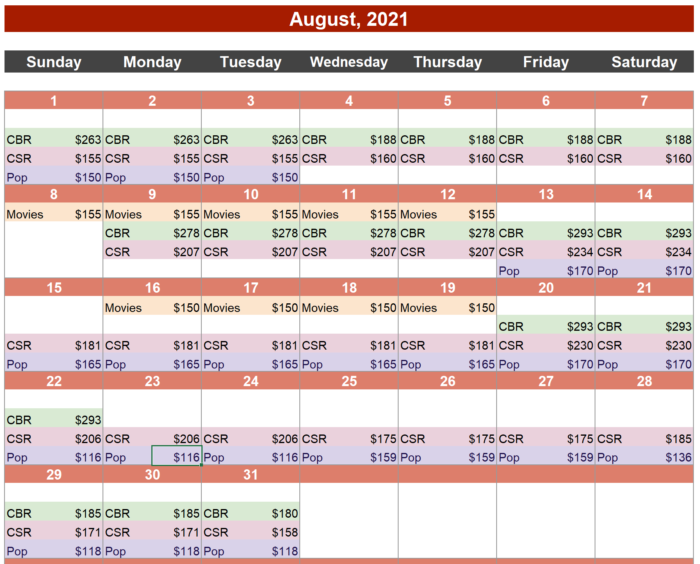 August Hotwire Calendar