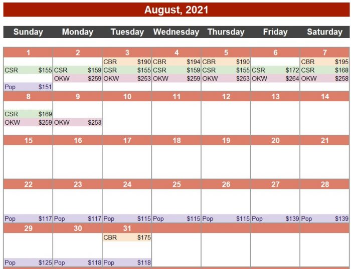 Calendar of Deals August, 2021