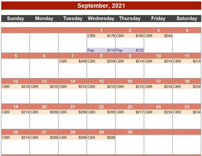 Calendar of Deals September, 2021