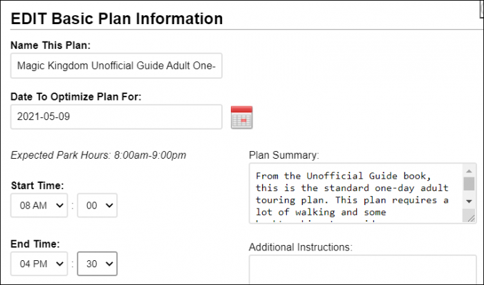 The edit screen for personalized touring plans, showing where the end time can be changed.