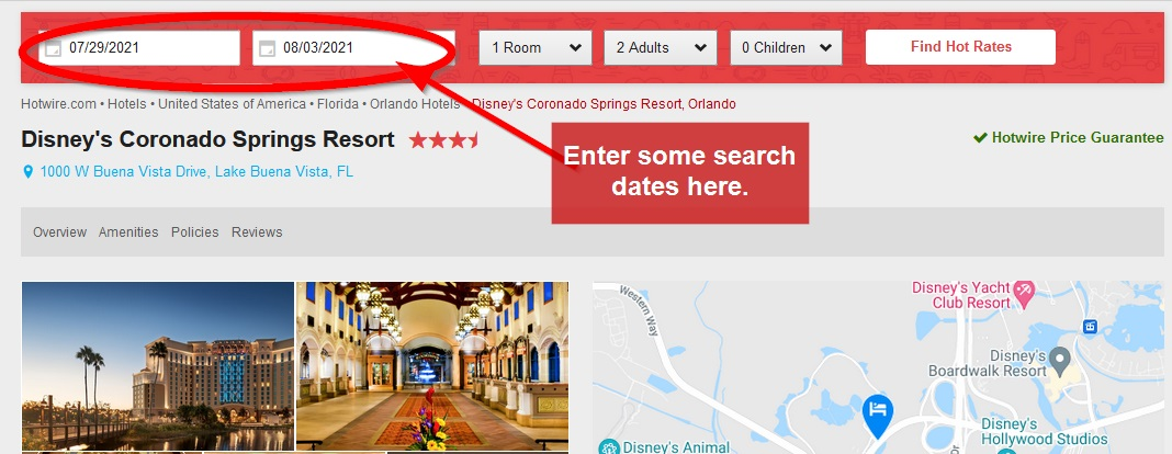 Hotwire Resort Page Search