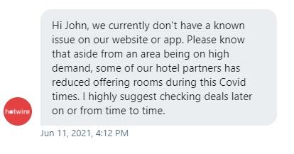 Hotwire Twitter DM Response